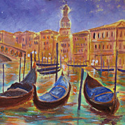 Italy Venice original acrylic painting on paper 11&quot;x15&quot; by contemporary artist Monic