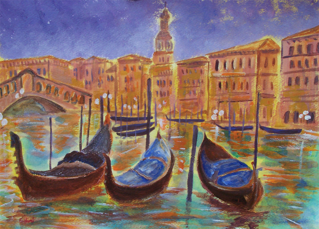 "Italy Venice original acrylic painting on paper 11""x15"" by contemporary artist Monica Fallini"