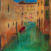 Italy Venice canal painting on paper 11&quot;x15&quot; by contemporary artist Monica Fallini