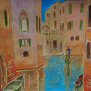 "Italy Venice gondolas painting on paper 11""x15"" by contemporary artist Monica Fallin"