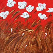 Floral modern art vibrant texture and colors white Poppies painting by contemporary artist Mon