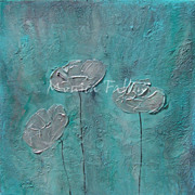 "Pearl Poppies original acrylic painting from the series ""Vintage Poppies"" by contemp"