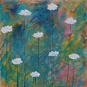 White Poppies acrylic painting fine art by contemporary artist Monica Fallini