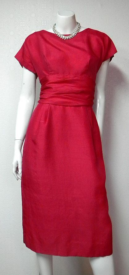 1960s Vintage Silk Shantung Cocktail Dress By Taller Modes