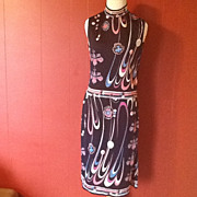 Vtg PAGANNE Signed COUTURE Op Pop Art Screen print shift Dress 12