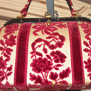Vintage 1950's Meyers Handbag Purse w/ Embroidery Needle Work Tapestry Carpet