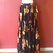 Vintage Victor Costa Long black satin print skirt size12 NWT