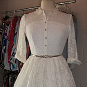 1950s Lace Illusion Party Dress Full Skirt Pinup Rockabilly