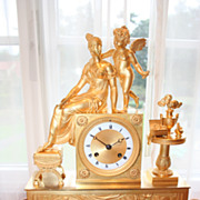 REDUCED French Ormolu Empire Mantel Clock
