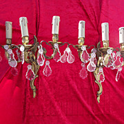 Pair of Wall Sconces with Three Arms, Bronze and Crystal, French Circa 1910