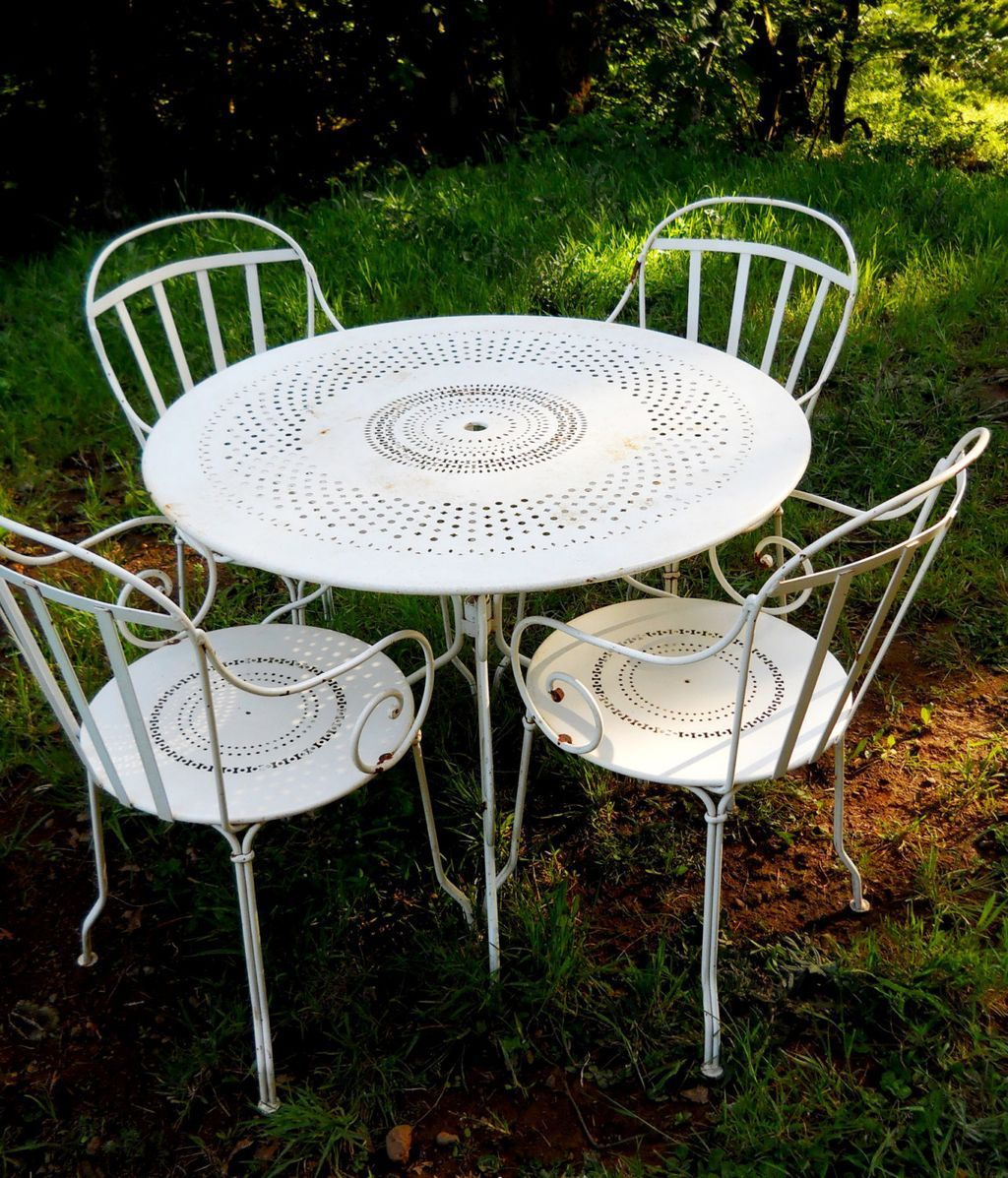 Pre1960s Iron Metal French Fermob Cafe Bistro Table Patio Chairs Set From Sir