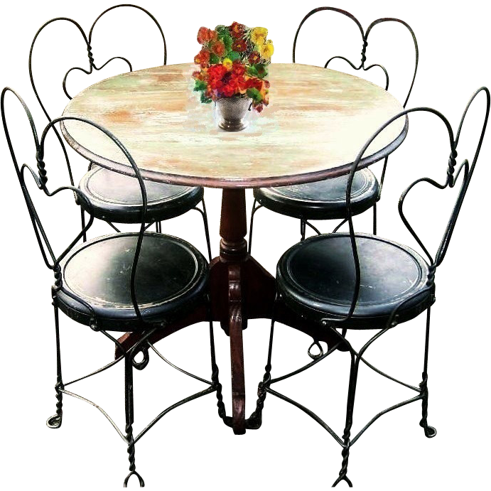 Vintage Early 1900s Bistro Set French Country Cafe