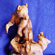 "Zsolnay Fighting Bears by Bela Markup 11 1/4"" Porcelain Figurine"