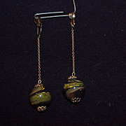 Vintage Earrings, Beautiful Marbles on dangling chain.