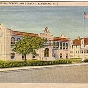 A vintage color postcard of the St. Ann's School & Convent in NJ.