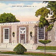 A vintage picture postcard of the Post Office in Lakewood, NJ.