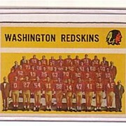 A Vintage 1960 Washington Redskins Team Trading Card, Topps # 132