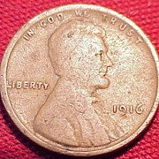 A vintage United States 1916 Wheat Penny.
