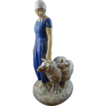 Danish Bing and Grondahl Shepherdess Porcelain Figurine Signed Axel Locher- 20th Century, Denmark