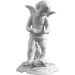 German White Glazed Dresden Porcelain Cherub Figurine Winter Season Signed Sandizell - 20th Century, Germany