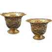 Pair Gilt Silver Cups / Vessels / Beakers Castle Decor Tremolierstich - c. 18th C. or later, Netherlands