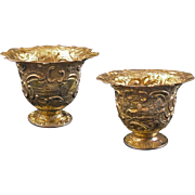 Pair Gilt Silver Cups / Vessels / Beakers Castle Decor Tremolierstich - c. 18th C. or later, N