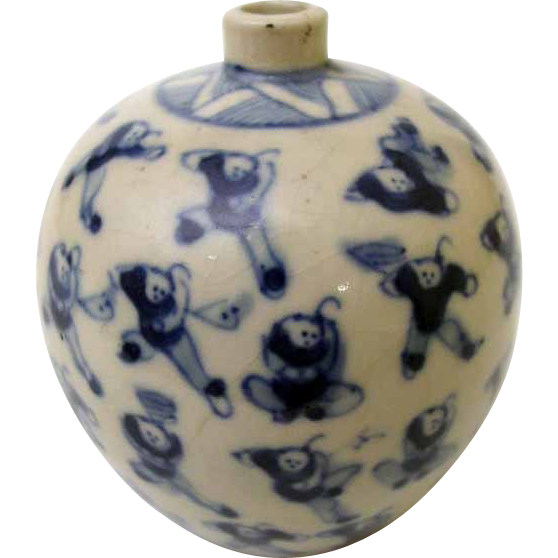 White Blue Jar with Boys at Play - Kangxi Mark, China