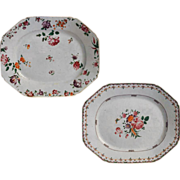 Pair 18th C. Famille Rose 17&quot; Platters Porcelain and Enamel - 18th Century, China