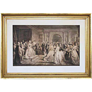 Antique Framed Large Engraving Lady Washington's Reception Day - 19th Century, USA