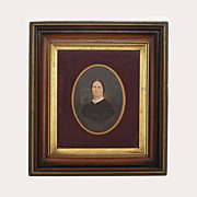 18.5 by 16.5 inch Antique Walnut Gilt Frame Photograph Lady Portrait - 19th Century ...
