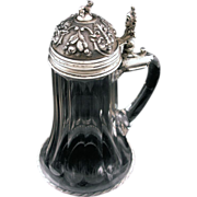 Silver .800 Crystal Figural  Tankard Stein Hallmarked - c. 1867-1922, Austro-Hungary