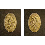 Pair of Austrian Gilt Relief Wall Plaques Mythology Allegorical Signed by Artist Karl Sterrer 