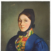 Miniature Portrait Oil on Metal Young Woman in Austrian Folk Costume - 19th Century, Austria