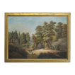Antique Oil on Canvas Primitive Painting Landscape Country Road - 19th Century, USA
