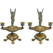 Pair of Antique Figural Patinated Bronze Twin Light Candelabra with Winged Cupid on Classical Oil Lamp Shaped Base and Paw Feet - 19th Century, France