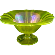 Iridescent Yellow Glass Footed Bowl / Compote / Comport - c. 1920's, USA