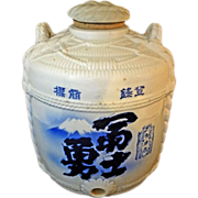 Japanese Sake Barrel 13&quot;H Blue White Ceramic - c. 19th20th Century, Japan