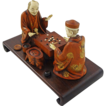Japanese Ivory and Wood Okimono Group of Two Men Playing a Board Game - c. Meiji (1868-1912), Japan