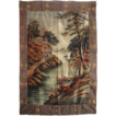 "Large 82"" x 56"" Japanese Meiji Embroidered Silk Wall Hanging Tapestry -  c. 1868-1912, Japan"