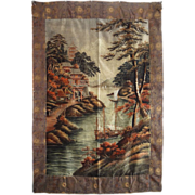 "SALE Large 82"" x 56"" Japanese Meiji Embroidered Silk Wall Hanging Tapestry -  c. 186"