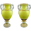 "Pair 11"" H Meissen Snake Handled Urns Vases Yellow Porcelain - 1850-1924, Germany"