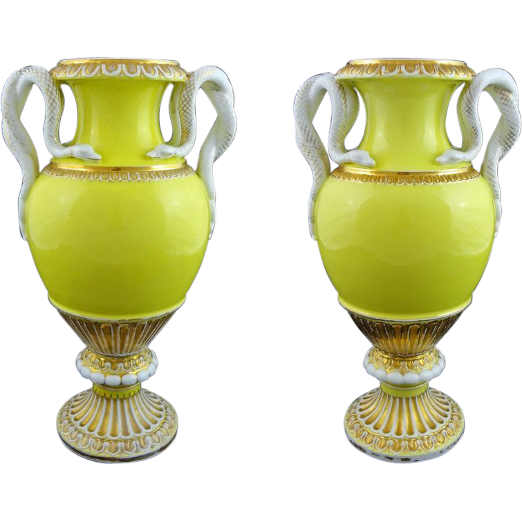 Pair 11&quot; H Meissen Snake Handled Urns Vases Yellow Porcelain - 1850-1924, Germany