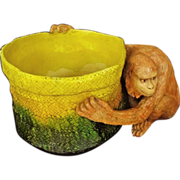 Antique Huge English Majolica Art Pottery Monkey Figure and Basket Jardiniere Planter - c. 190
