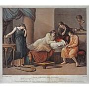 Antique Color Engraving Virgil Writing His Epitaph after Angelica Kauffman / Burke scul. - c.1
