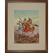 "Watercolor after Giulio Rosati ""Fantasia"" Moroccan Horsemen at Full Gallop Signed Ar"