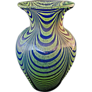 "Art Glass Green and Blue Pulled Loop Vase 7"" Tall - c. 20th Century"