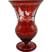 Bohemian Traditional Red Glass Vase Czech  - 20th Century, Czechoslovakia