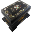 Antique Ebonized Papier Mache Tea Caddy Box Mother of Pearl - 19th Century, England