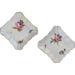 Pair Early Antique Meissen Marcolini Square Floral Bowls Crossed Swords Star - 1774-1814, Germany
