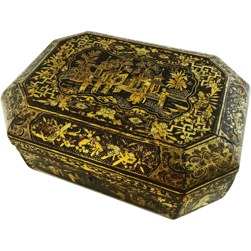 Early Chinese Export Large Black Lacquer and Gilt Box with Paw Feet - c. 1800's, China